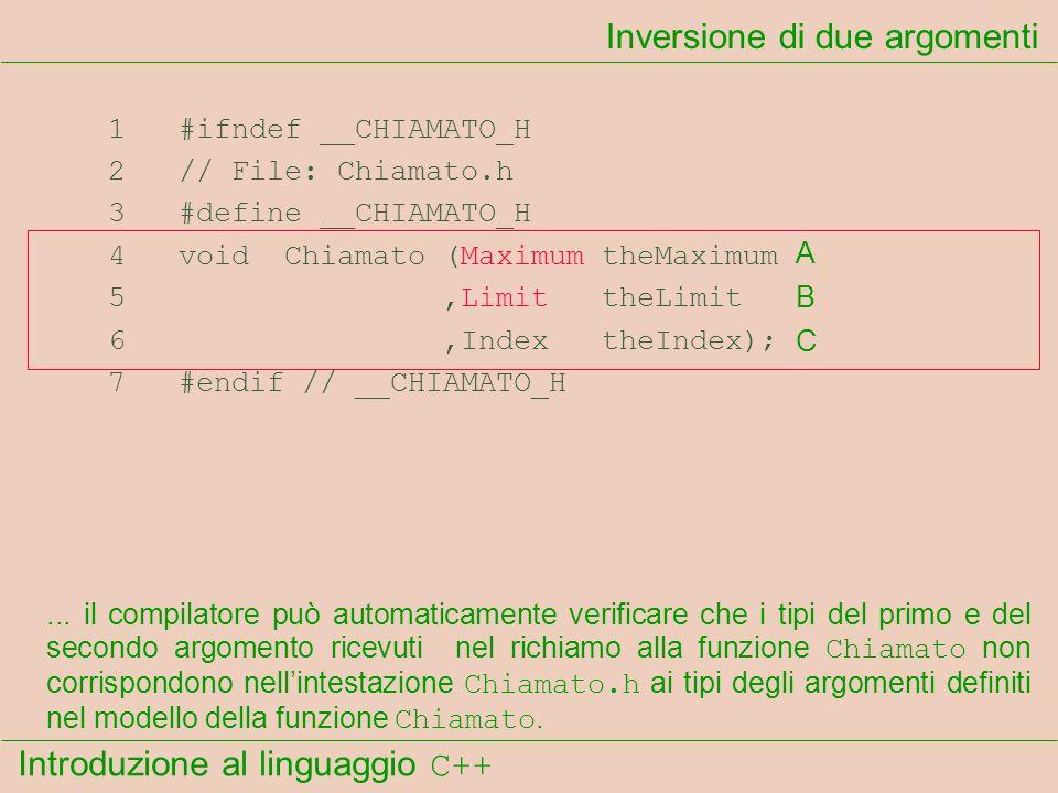 Introduzione al linguaggio C++ Inversione di due argomenti 1 #ifndef __CHIAMATO_H 2 // File: Chiamato.h 3 #define __CHIAMATO_H 4 void Chiamato (Maximum theMaximum 5,Limit theLimit 6,Index theIndex); 7 #endif // __CHIAMATO_H...