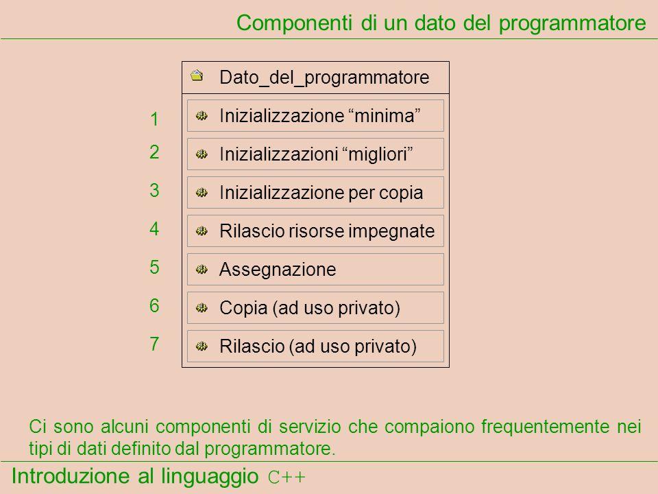 Introduzione al linguaggio C++ Componenti di un dato del programmatore Ci sono alcuni componenti di servizio che compaiono frequentemente nei tipi di dati definito dal programmatore.