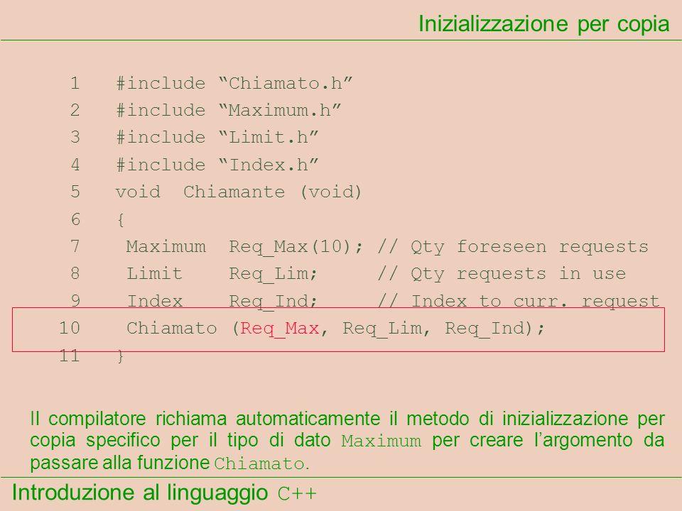 Introduzione al linguaggio C++ Inizializzazione per copia 1 #include Chiamato.h 2 #include Maximum.h 3 #include Limit.h 4 #include Index.h 5 void Chia