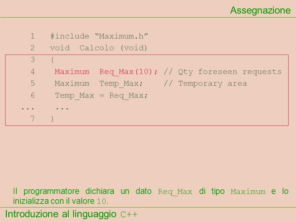 Introduzione al linguaggio C++ Assegnazione 1 #include Maximum.h 2 void Calcolo (void) 3 { 4 Maximum Req_Max(10); // Qty foreseen requests 5 Maximum T