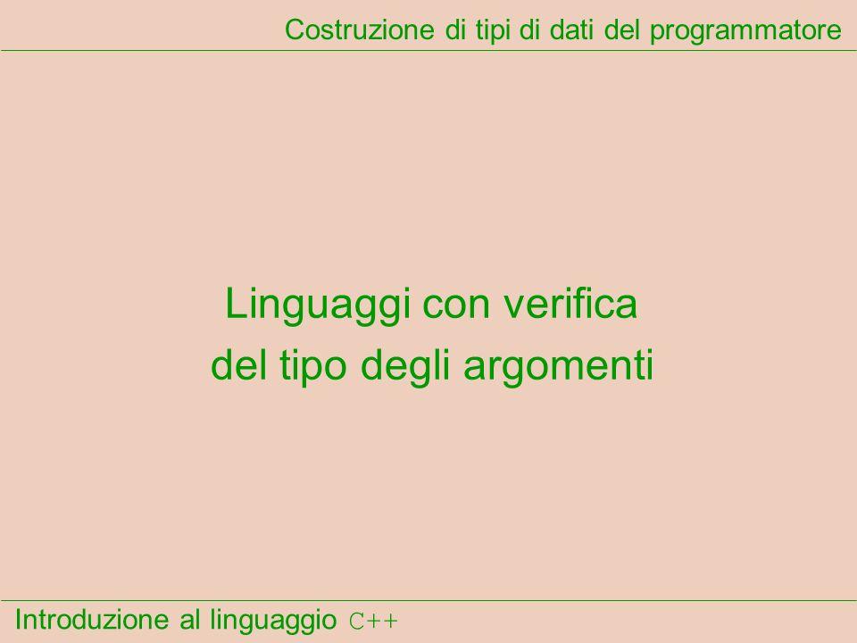 Introduzione al linguaggio C++ Costruzione di tipi di dati del programmatore Linguaggi con verifica del tipo degli argomenti