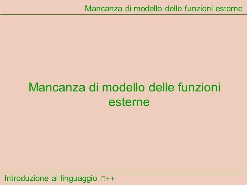 Introduzione al linguaggio C++ Mancanza di modello delle funzioni esterne