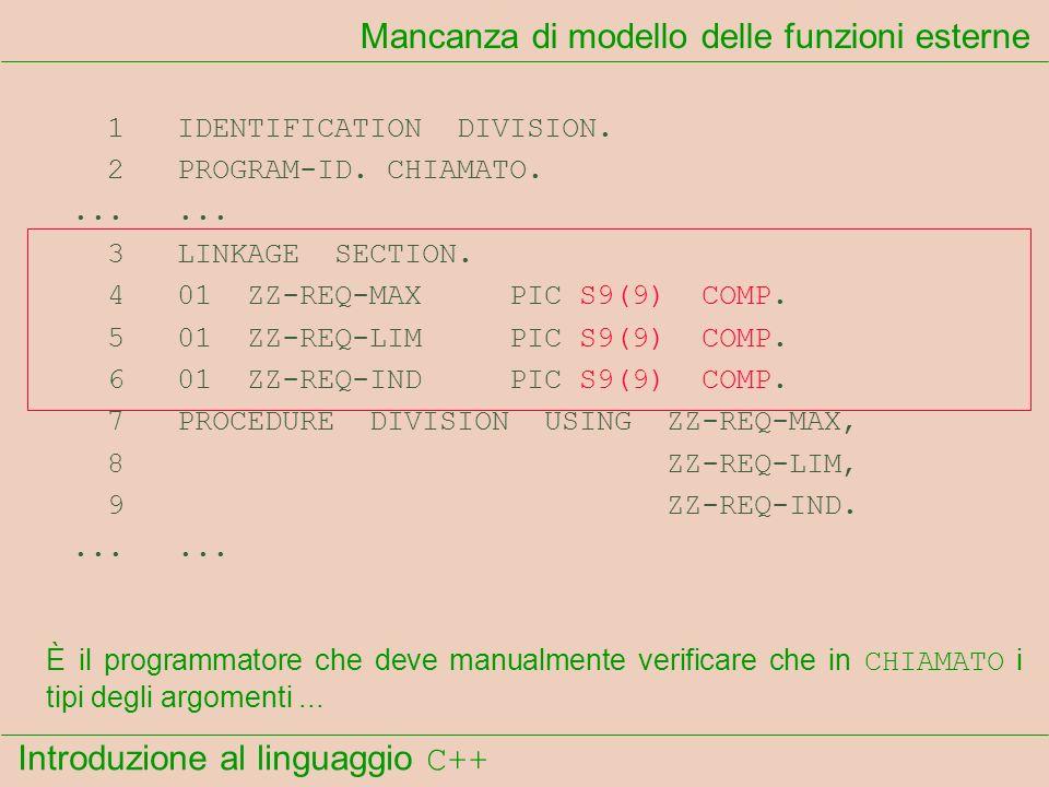 Introduzione al linguaggio C++ Mancanza di modello delle funzioni esterne 1 IDENTIFICATION DIVISION. 2 PROGRAM-ID. CHIAMATO....... 3 LINKAGE SECTION.