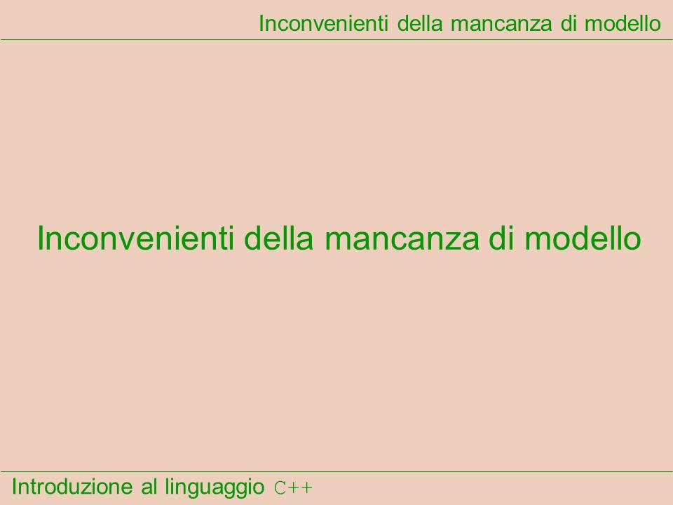 Introduzione al linguaggio C++ Inconvenienti della mancanza di modello