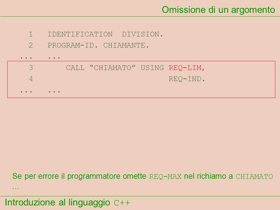 Introduzione al linguaggio C++ Omissione di un argomento 1 IDENTIFICATION DIVISION. 2 PROGRAM-ID. CHIAMANTE....... 3 CALL CHIAMATO USING REQ-LIM, 4 RE