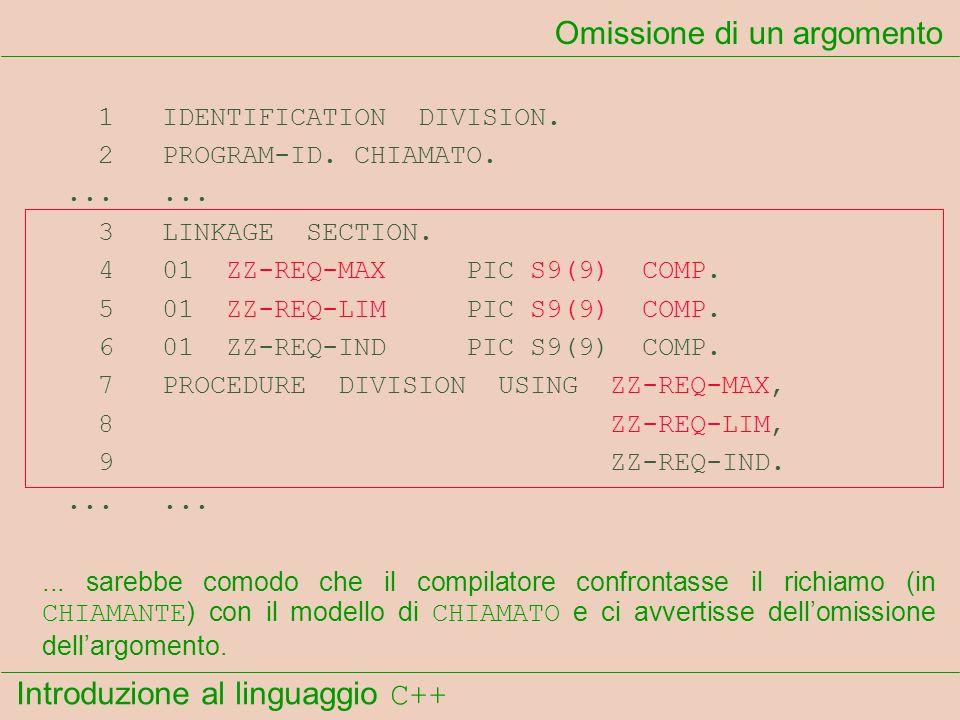 Introduzione al linguaggio C++ Omissione di un argomento 1 IDENTIFICATION DIVISION. 2 PROGRAM-ID. CHIAMATO....... 3 LINKAGE SECTION. 4 01 ZZ-REQ-MAX P