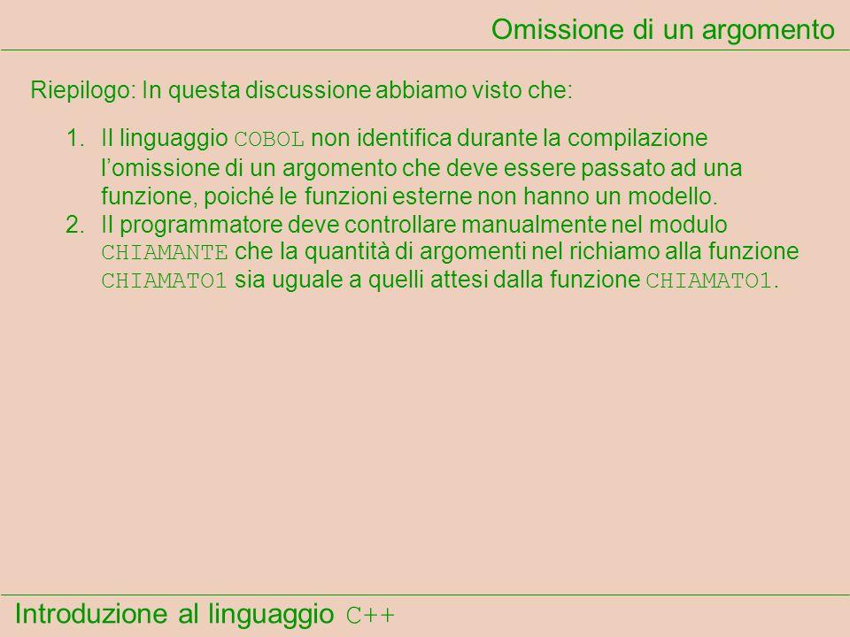 Introduzione al linguaggio C++ Omissione di un argomento Riepilogo: In questa discussione abbiamo visto che: 1.Il linguaggio COBOL non identifica durante la compilazione lomissione di un argomento che deve essere passato ad una funzione, poiché le funzioni esterne non hanno un modello.