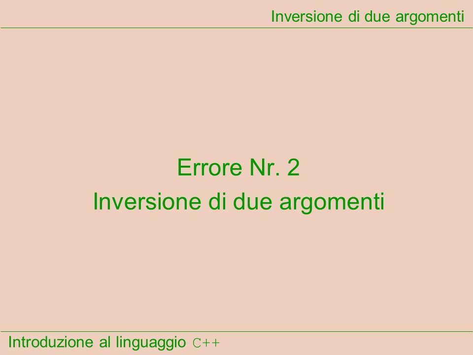 Introduzione al linguaggio C++ Inversione di due argomenti Errore Nr. 2 Inversione di due argomenti
