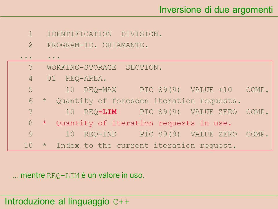 Introduzione al linguaggio C++ Inversione di due argomenti 1 IDENTIFICATION DIVISION. 2 PROGRAM-ID. CHIAMANTE....... 3 WORKING-STORAGE SECTION. 4 01 R