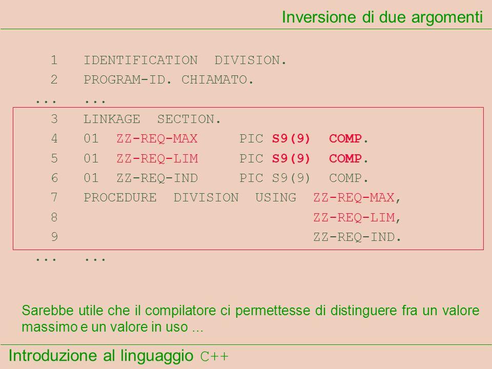 Introduzione al linguaggio C++ Inversione di due argomenti 1 IDENTIFICATION DIVISION. 2 PROGRAM-ID. CHIAMATO....... 3 LINKAGE SECTION. 4 01 ZZ-REQ-MAX