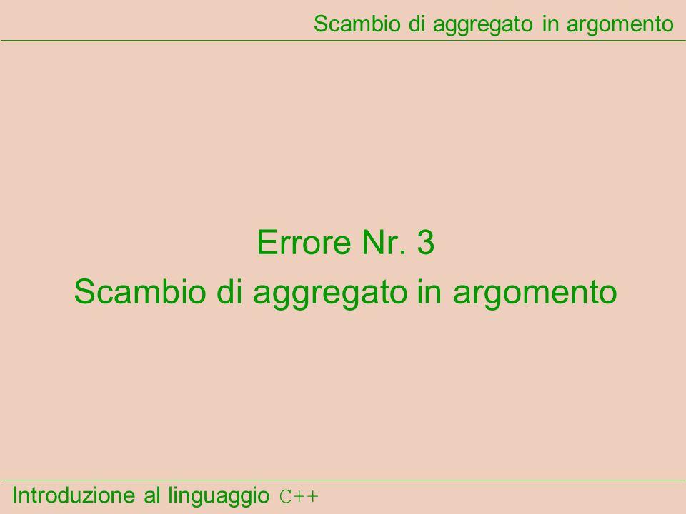 Introduzione al linguaggio C++ Scambio di aggregato in argomento Errore Nr.