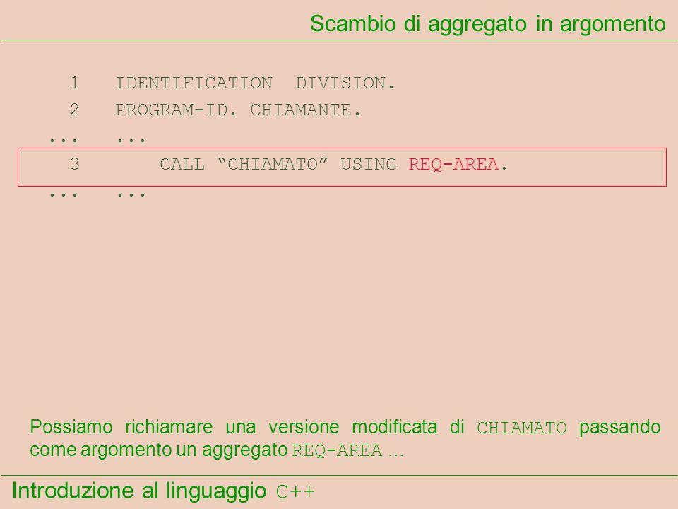 Introduzione al linguaggio C++ Scambio di aggregato in argomento 1 IDENTIFICATION DIVISION.