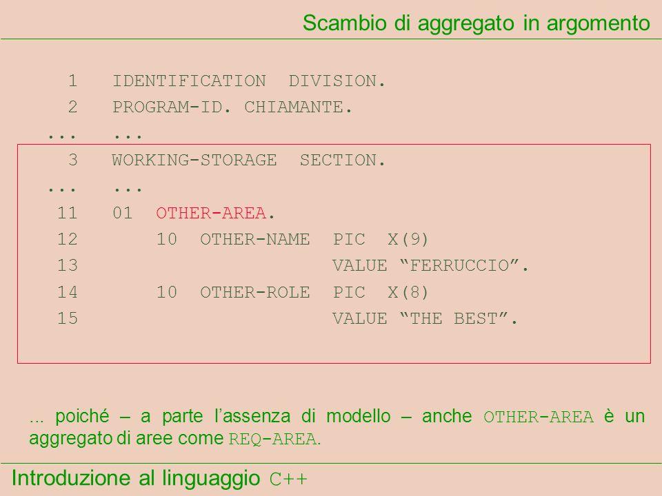 Introduzione al linguaggio C++ Scambio di aggregato in argomento 1 IDENTIFICATION DIVISION. 2 PROGRAM-ID. CHIAMANTE....... 3 WORKING-STORAGE SECTION..