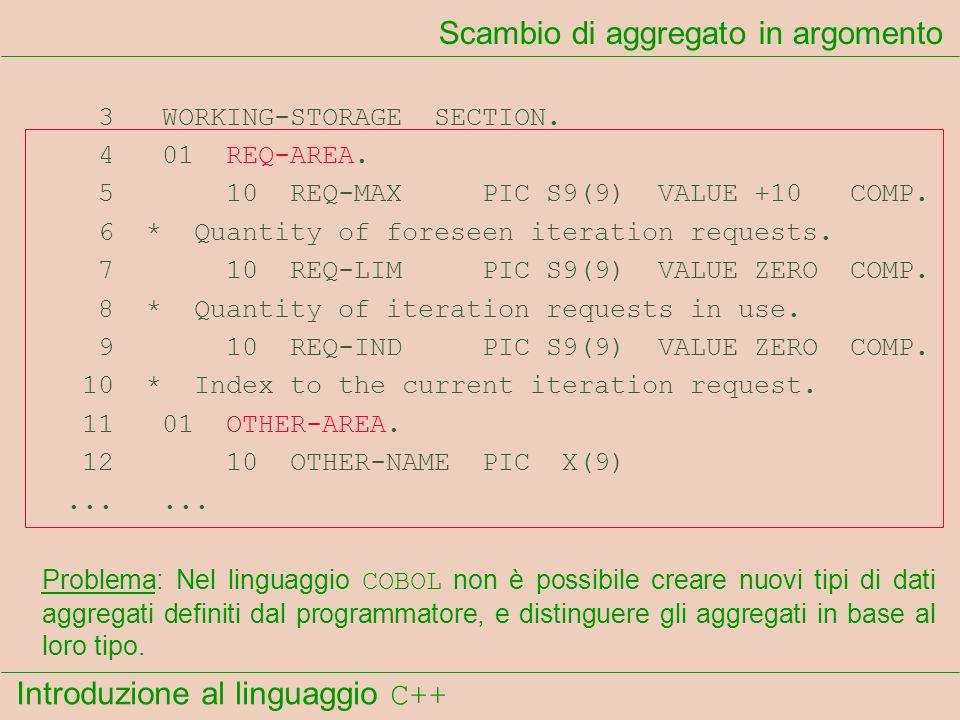 Introduzione al linguaggio C++ Scambio di aggregato in argomento 3 WORKING-STORAGE SECTION. 4 01 REQ-AREA. 5 10 REQ-MAX PIC S9(9) VALUE +10 COMP. 6 *