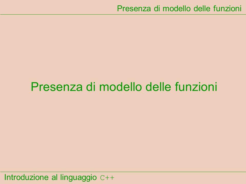 Introduzione al linguaggio C++ Presenza di modello delle funzioni