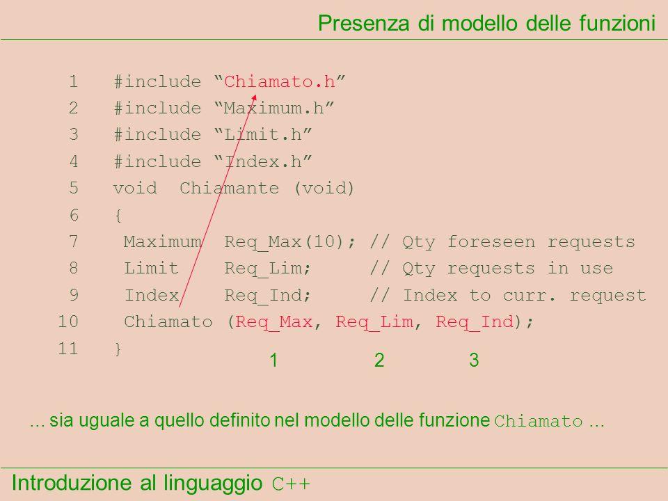 Introduzione al linguaggio C++ Presenza di modello delle funzioni 1 #include Chiamato.h 2 #include Maximum.h 3 #include Limit.h 4 #include Index.h 5 void Chiamante (void) 6 { 7 Maximum Req_Max(10); // Qty foreseen requests 8 Limit Req_Lim; // Qty requests in use 9 Index Req_Ind; // Index to curr.