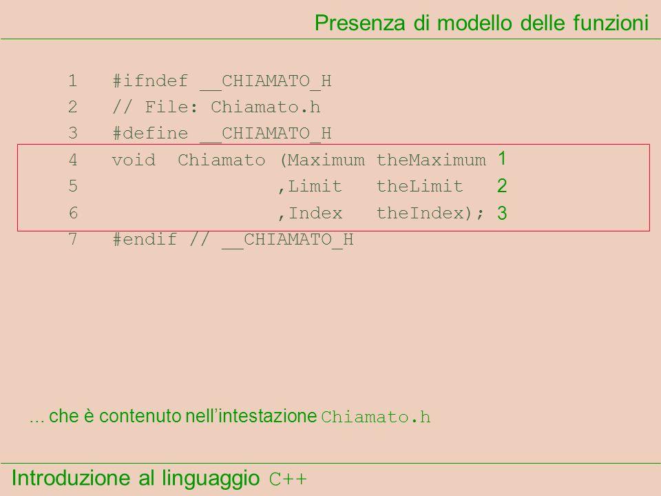 Introduzione al linguaggio C++ Presenza di modello delle funzioni 1 #ifndef __CHIAMATO_H 2 // File: Chiamato.h 3 #define __CHIAMATO_H 4 void Chiamato (Maximum theMaximum 5,Limit theLimit 6,Index theIndex); 7 #endif // __CHIAMATO_H...