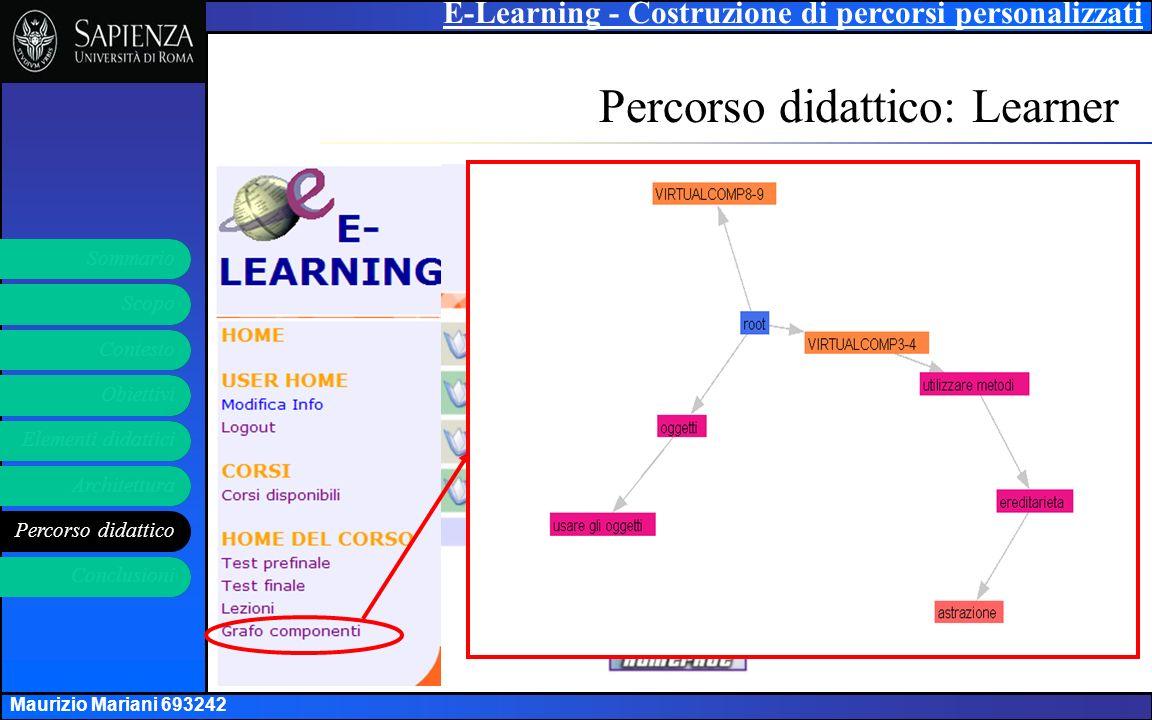 E-Learning - Costruzione di percorsi personalizzati Elementi didattici Architettura Percorso didattico Obiettivi Contesto Scopo Sommario Conclusioni 16 Maurizio Mariani 693242 Percorso didattico: Learner