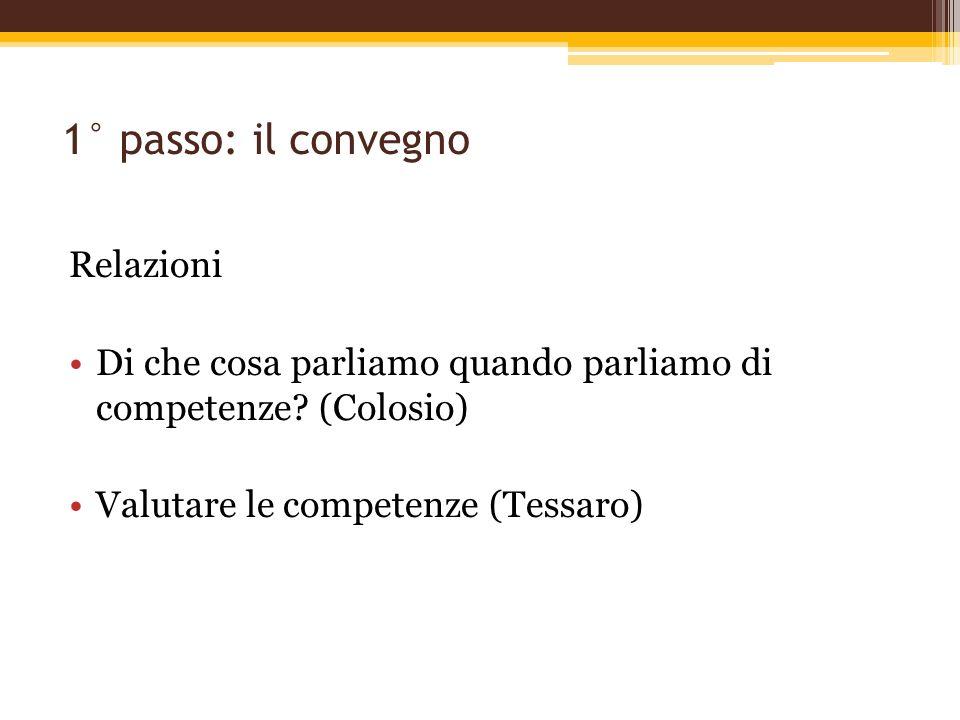 1° passo: il convegno Relazioni Di che cosa parliamo quando parliamo di competenze? (Colosio) Valutare le competenze (Tessaro)