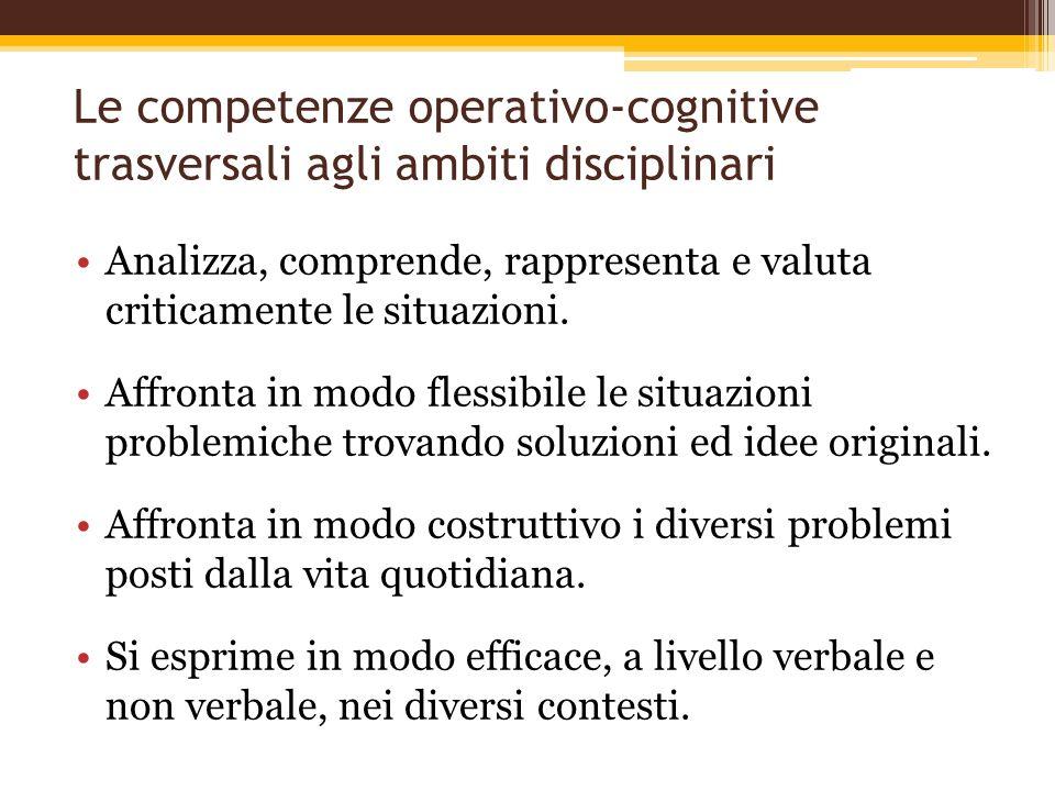 Le competenze operativo-cognitive trasversali agli ambiti disciplinari Analizza, comprende, rappresenta e valuta criticamente le situazioni. Affronta