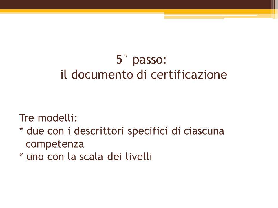 5° passo: il documento di certificazione Tre modelli: * due con i descrittori specifici di ciascuna competenza * uno con la scala dei livelli