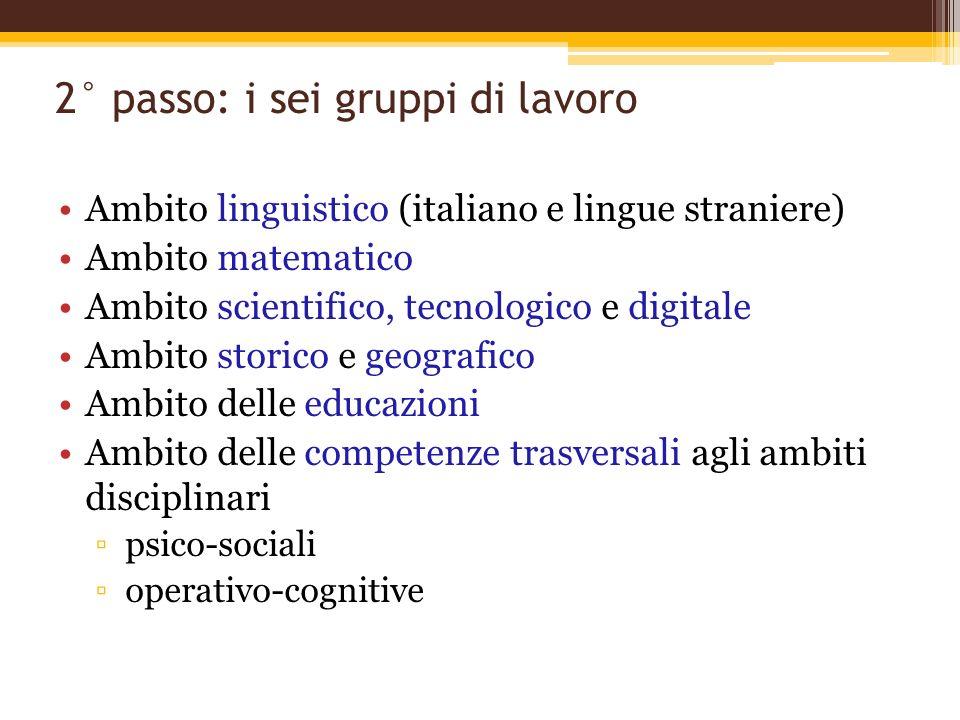 2° passo: i sei gruppi di lavoro Ambito linguistico (italiano e lingue straniere) Ambito matematico Ambito scientifico, tecnologico e digitale Ambito