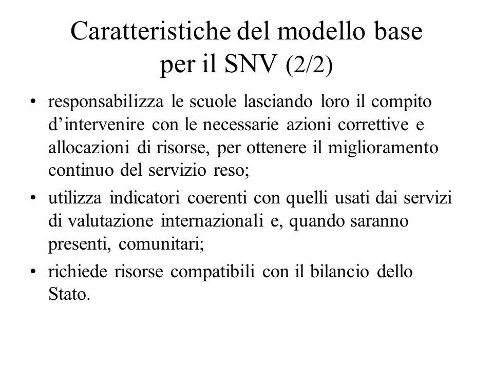 Caratteristiche del modello base per il SNV (2/2) responsabilizza le scuole lasciando loro il compito dintervenire con le necessarie azioni correttive