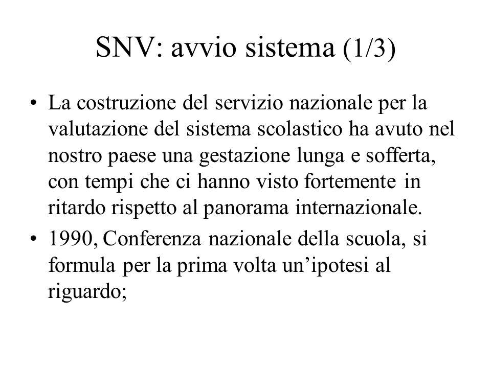 SNV: avvio sistema (1/3) La costruzione del servizio nazionale per la valutazione del sistema scolastico ha avuto nel nostro paese una gestazione lung