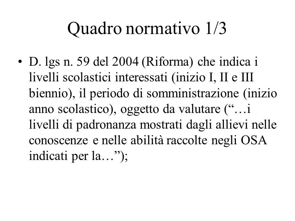 Quadro normativo 1/3 D. lgs n. 59 del 2004 (Riforma) che indica i livelli scolastici interessati (inizio I, II e III biennio), il periodo di somminist