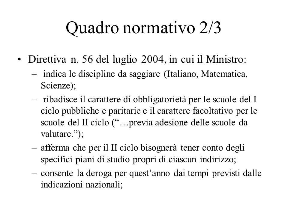 Quadro normativo 2/3 Direttiva n. 56 del luglio 2004, in cui il Ministro: – indica le discipline da saggiare (Italiano, Matematica, Scienze); – ribadi