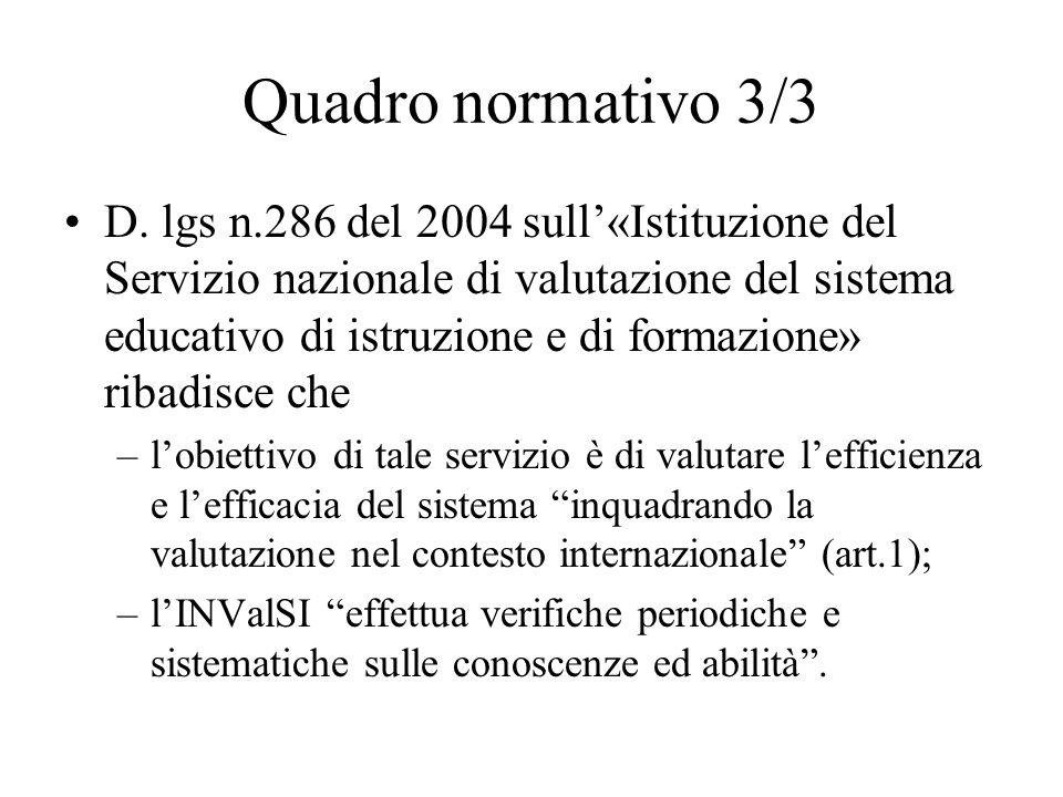 Quadro normativo 3/3 D. lgs n.286 del 2004 sull«Istituzione del Servizio nazionale di valutazione del sistema educativo di istruzione e di formazione»