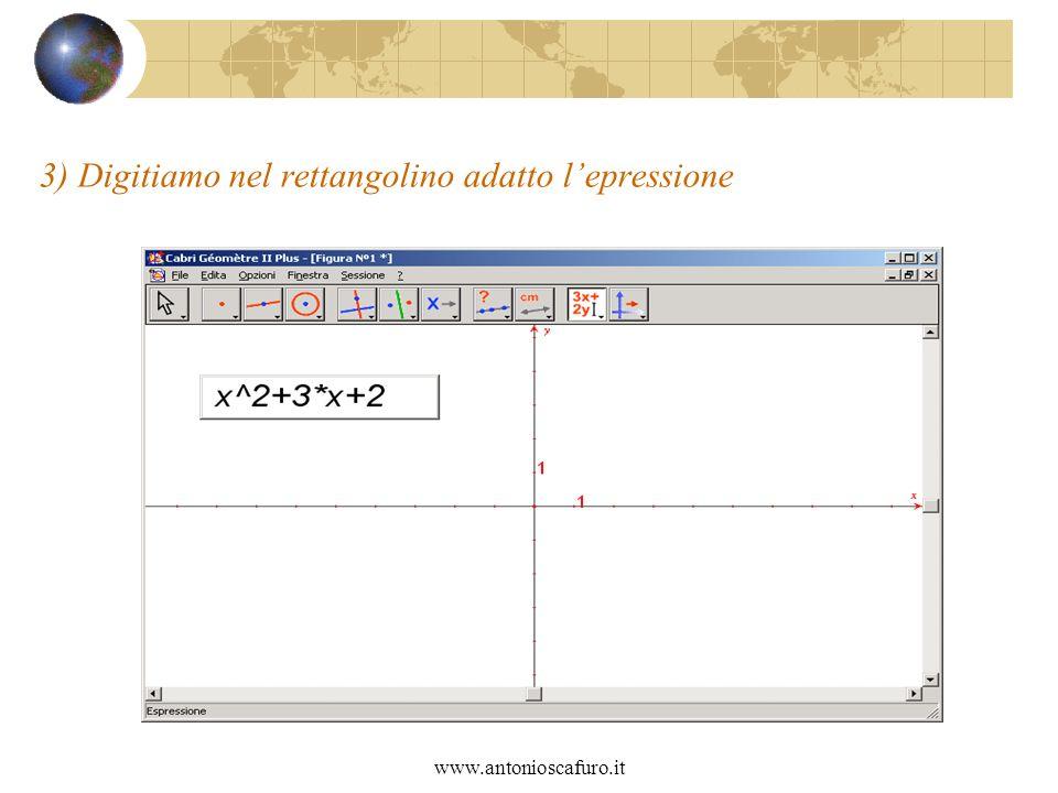 www.antonioscafuro.it 3) Digitiamo nel rettangolino adatto lepressione