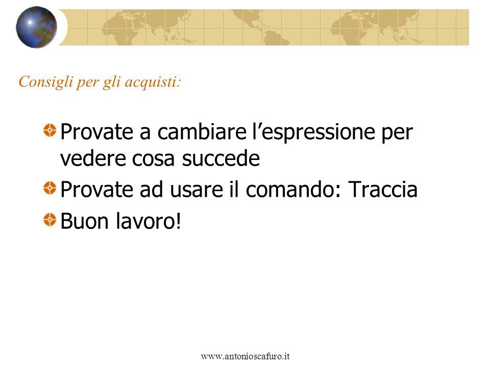 www.antonioscafuro.it Consigli per gli acquisti: Provate a cambiare lespressione per vedere cosa succede Provate ad usare il comando: Traccia Buon lavoro!