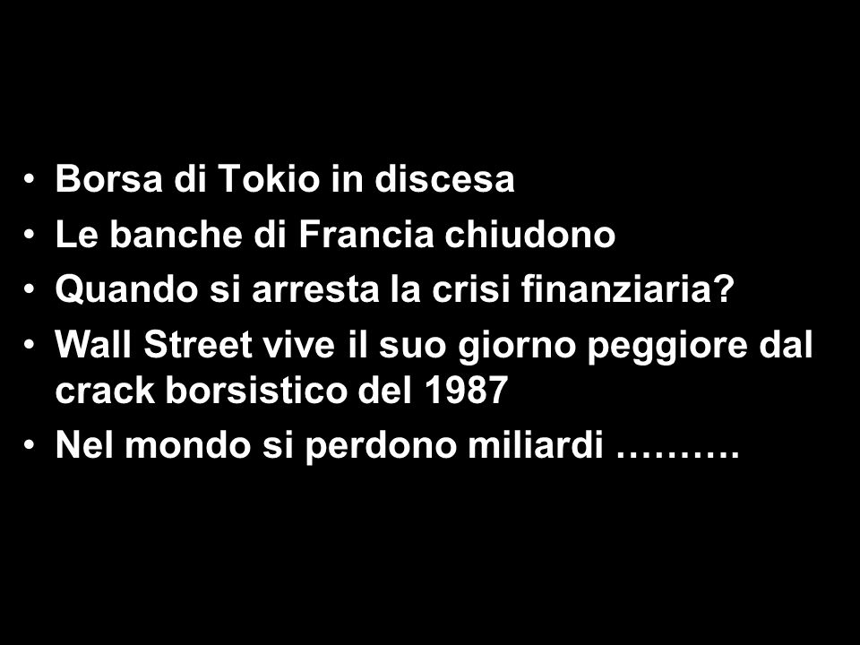 Borsa di Tokio in discesa Le banche di Francia chiudono Quando si arresta la crisi finanziaria.