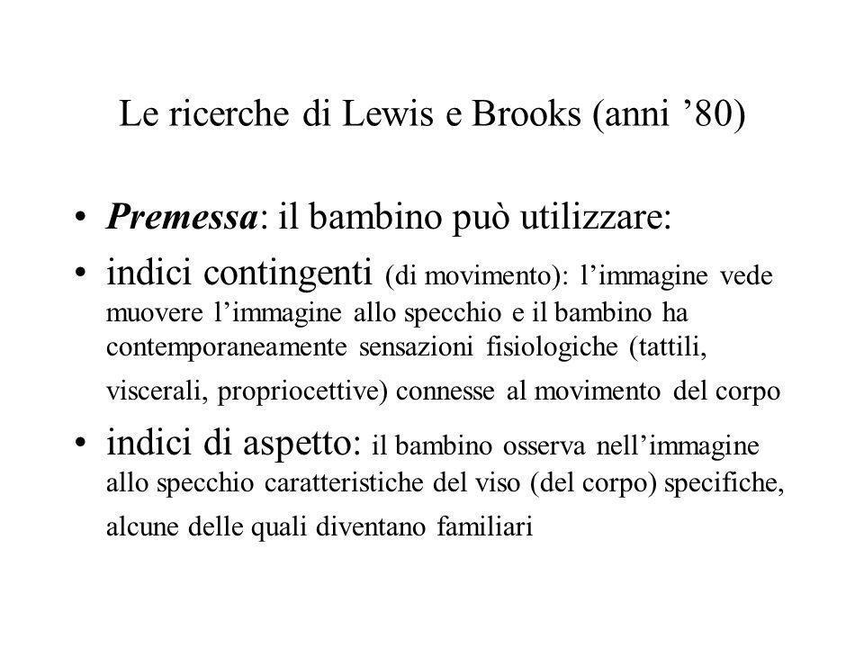 Le ricerche di Lewis e Brooks (anni 80) Premessa: il bambino può utilizzare: indici contingenti (di movimento): limmagine vede muovere limmagine allo