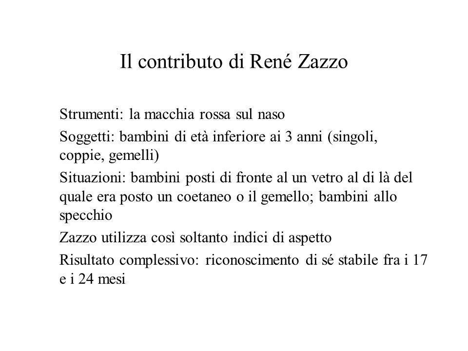 Il contributo di René Zazzo Strumenti: la macchia rossa sul naso Soggetti: bambini di età inferiore ai 3 anni (singoli, coppie, gemelli) Situazioni: b
