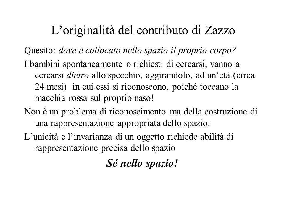 Loriginalità del contributo di Zazzo Quesito: dove è collocato nello spazio il proprio corpo? I bambini spontaneamente o richiesti di cercarsi, vanno
