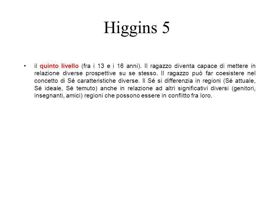 Higgins 5 il quinto livello (fra i 13 e i 16 anni). Il ragazzo diventa capace di mettere in relazione diverse prospettive su se stesso. Il ragazzo può