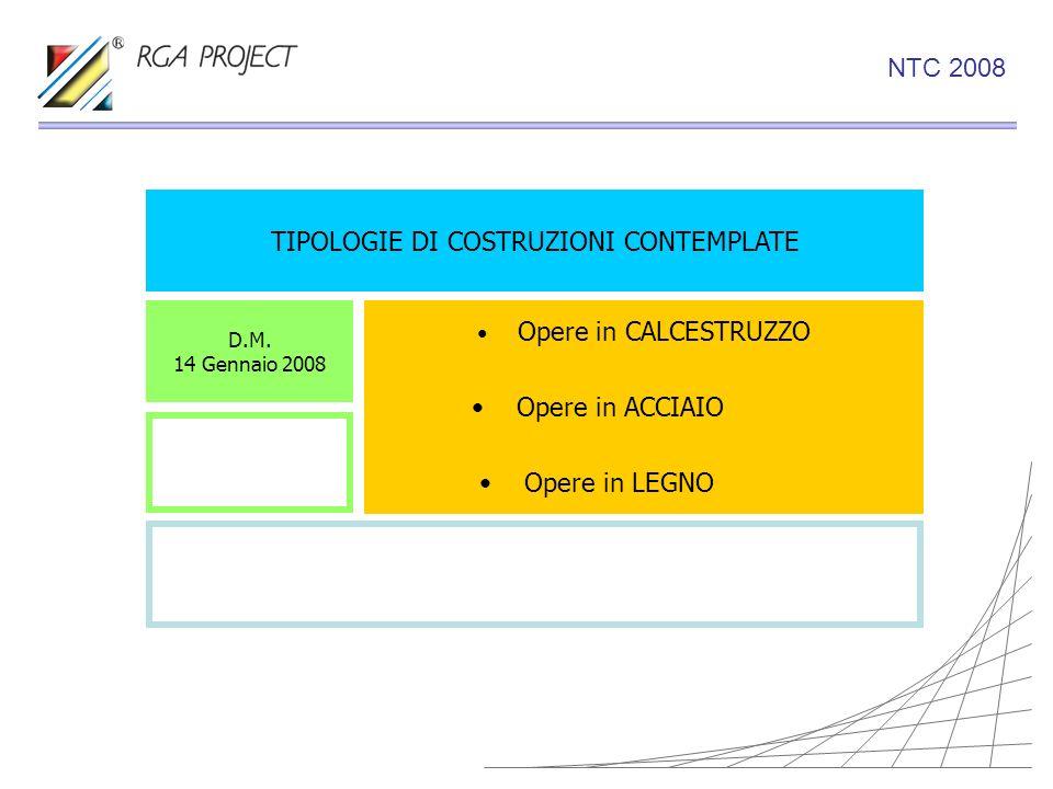 TIPOLOGIE DI COSTRUZIONI CONTEMPLATE Opere in CALCESTRUZZO Opere in ACCIAIO Opere in LEGNO D.M. 14 Gennaio 2008 NTC 2008