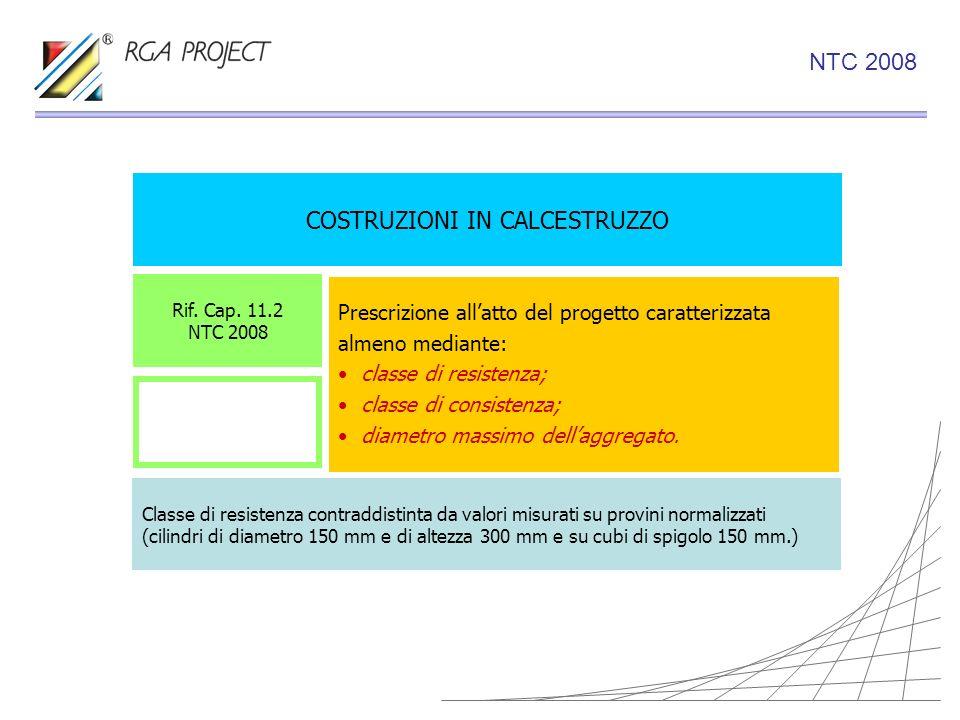 COSTRUZIONI IN CALCESTRUZZO Rif. Cap. 11.2 NTC 2008 Classe di resistenza contraddistinta da valori misurati su provini normalizzati (cilindri di diame