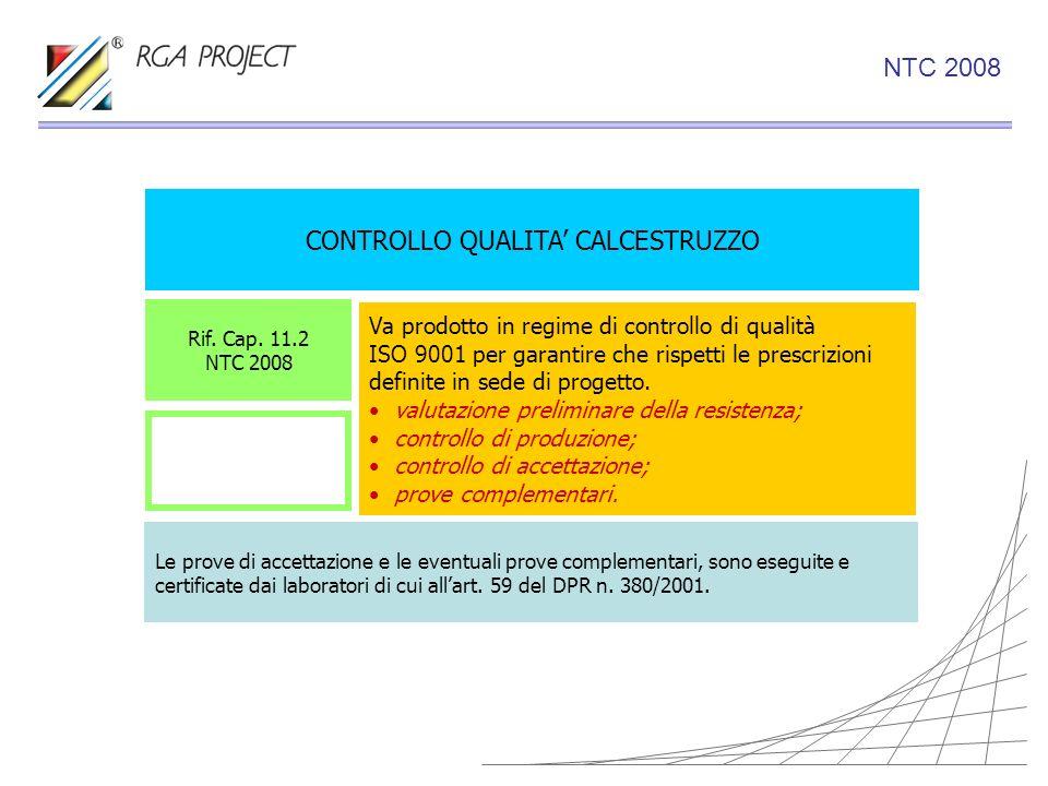 CONTROLLO QUALITA CALCESTRUZZO Va prodotto in regime di controllo di qualità ISO 9001 per garantire che rispetti le prescrizioni definite in sede di p