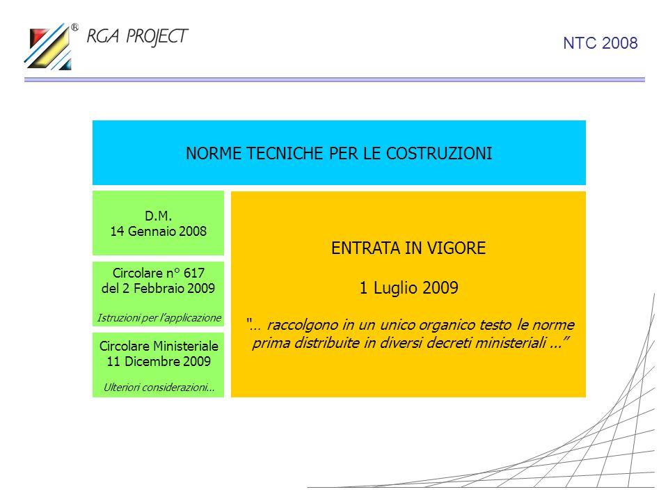 NTC 2008 NORME TECNICHE PER LE COSTRUZIONI D.M. 14 Gennaio 2008 Circolare n° 617 del 2 Febbraio 2009 Istruzioni per lapplicazione ENTRATA IN VIGORE 1