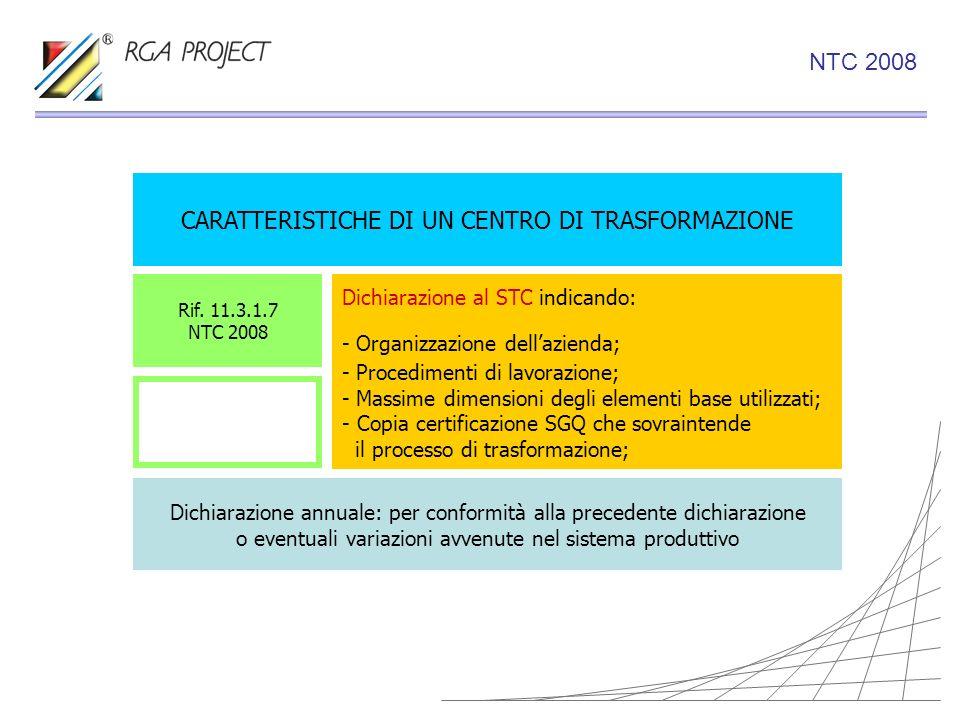 CARATTERISTICHE DI UN CENTRO DI TRASFORMAZIONE Dichiarazione al STC indicando: - Organizzazione dellazienda; - Procedimenti di lavorazione; - Massime