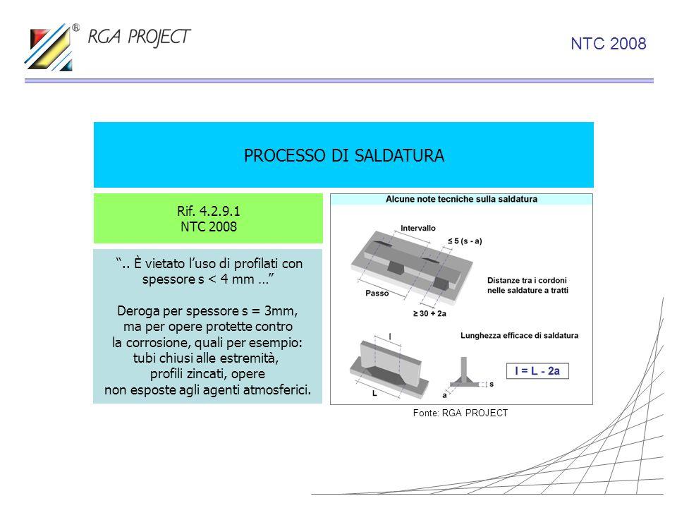 PROCESSO DI SALDATURA Rif. 4.2.9.1 NTC 2008.. È vietato luso di profilati con spessore s < 4 mm … Deroga per spessore s = 3mm, ma per opere protette c
