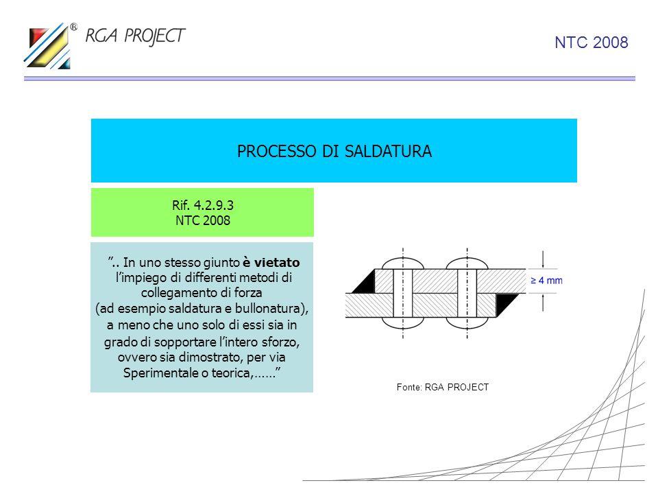PROCESSO DI SALDATURA Rif. 4.2.9.3 NTC 2008.. In uno stesso giunto è vietato limpiego di differenti metodi di collegamento di forza (ad esempio saldat