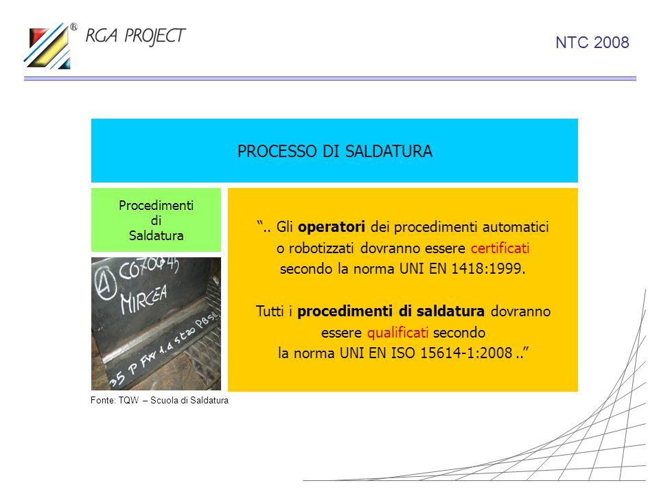 PROCESSO DI SALDATURA.. Gli operatori dei procedimenti automatici o robotizzati dovranno essere certificati secondo la norma UNI EN 1418:1999. Tutti i
