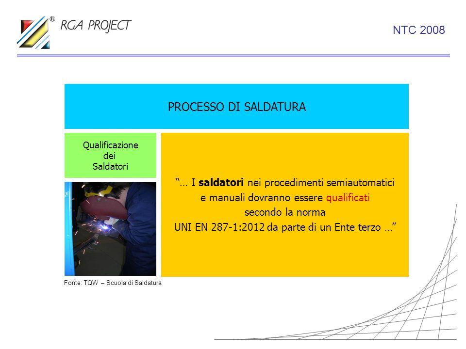 PROCESSO DI SALDATURA … I saldatori nei procedimenti semiautomatici e manuali dovranno essere qualificati secondo la norma UNI EN 287-1:2012 da parte