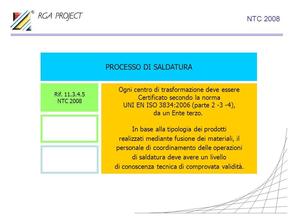 PROCESSO DI SALDATURA Ogni centro di trasformazione deve essere Certificato secondo la norma UNI EN ISO 3834:2006 (parte 2 -3 -4), da un Ente terzo. I