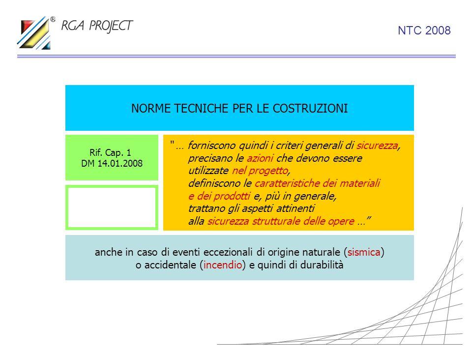 NORME TECNICHE PER LE COSTRUZIONI Rif. Cap. 1 DM 14.01.2008 … forniscono quindi i criteri generali di sicurezza, precisano le azioni che devono essere
