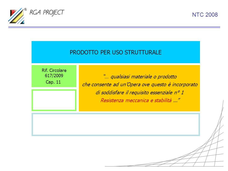 PRODOTTO PER USO STRUTTURALE Rif. Circolare 617/2009 Cap. 11 … qualsiasi materiale o prodotto che consente ad unOpera ove questo è incorporato di sodd